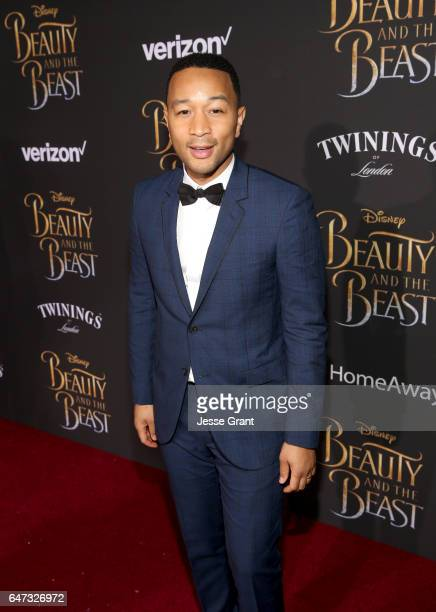 "Singer John Legend arrives for the world premiere of Disney's live-action ""Beauty and the Beast"" at the El Capitan Theatre in Hollywood as the cast..."