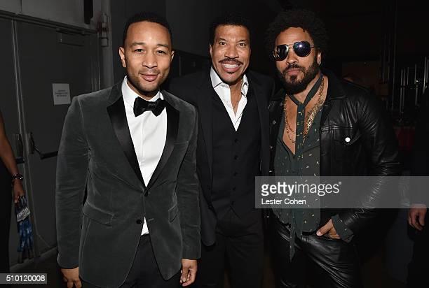 Singer John Legend honoree Lionel Richie and singer Lenny Kravitz attend the 2016 MusiCares Person of the Year honoring Lionel Richie at the Los...