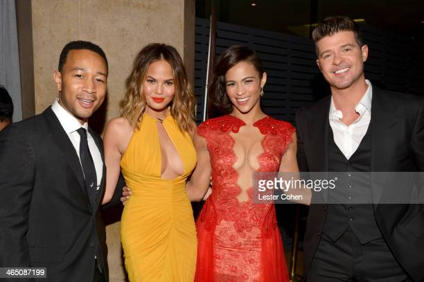 Singer John Legend model Christine Teigen actress Paula Patton and singer Robin Thicke attend the 56th annual GRAMMY Awards PreGRAMMY Gala and Salute...