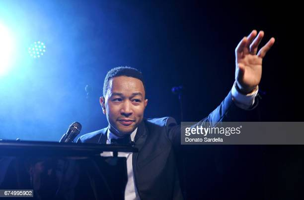 Singer John Legend performs at the MOCA Gala 2017 honoring Jeff Koons at The Geffen Contemporary at MOCA on April 29 2017 in Los Angeles California