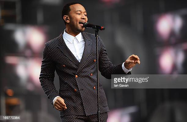 """Singer John Legend performs on stage at the """"Chime For Change: The Sound Of Change Live"""" Concert at Twickenham Stadium on June 1, 2013 in London,..."""