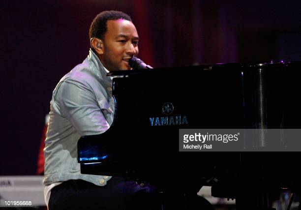 Singer John Legend performs on stage during the FIFA World Cup Kick-off Celebration Concert at the Orlando Stadium on June 10, 2010 in Johannesburg,...