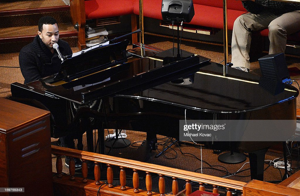 Singer John Legend performs onstage at 'The House I Live In' Washington DC screening at Shiloh Baptist Church on January 19, 2013 in Washington, DC.