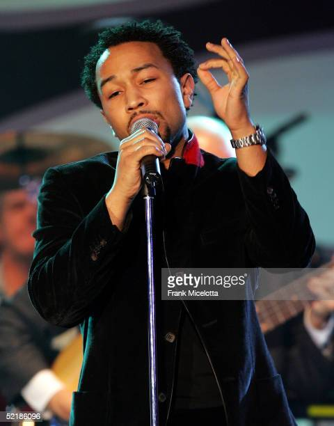 Singer John Legend performs onstage at the MusiCares 2005 Person of the Year Tribute to Brian Wilson at the Palladium on February 11 2005 in...