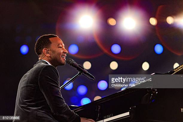Singer John Legend performs onstage during the 2016 MusiCares Person of the Year honoring Lionel Richie at the Los Angeles Convention Center on...