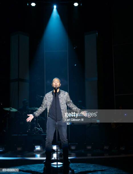 Singer John Legend rehearsals for the 48th NAACP Image Awards at Pasadena Convention Center on February 10, 2017 in Pasadena, California.