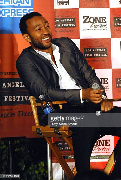 """Singer John Legend speaks during the Poolside Chat: """"Waiting For Superman"""" during the 2010 Los Angeles Film Festival at JW Marriott Los Angeles at..."""