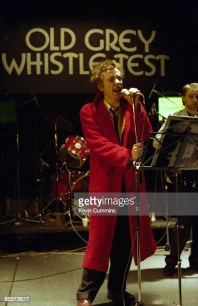 Singer John Lydon of Public Image Ltd performing on 'The Old Grey Whistle Test' on BBC TV February 1980