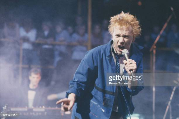 Singer John Lydon performing with English postpunk band Public Image Ltd on the Channel 4 TV music show 'The Tube' NewcastleuponTyne 28th October 1983