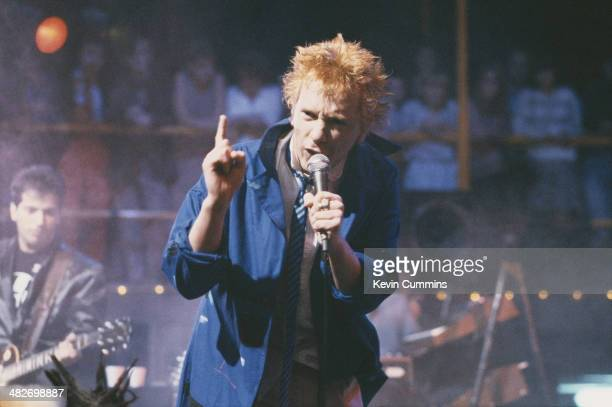 Singer John Lydon performing with English post-punk band Public Image Ltd on the Channel 4 TV music show 'The Tube', Newcastle-upon-Tyne, 28th...