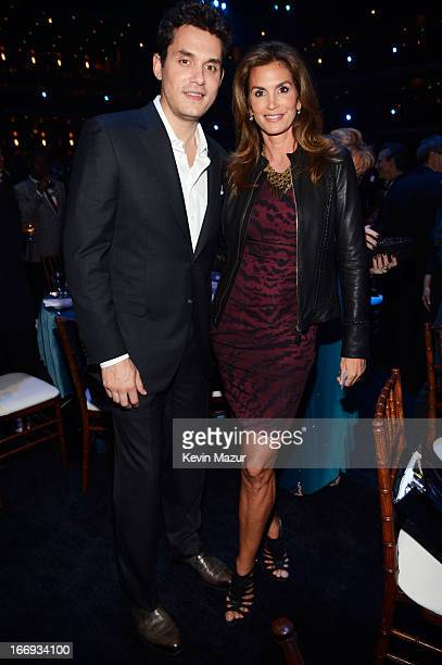 Singer John Mayer and model Cindy Crawford attend the 28th Annual Rock and Roll Hall of Fame Induction Ceremony at Nokia Theatre LA Live on April 18...
