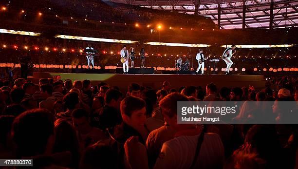 Singer John Newman performs during the Closing Ceremony for the Baku 2015 European Games at Olympic Stadium on June 28 2015 in Baku Azerbaijan