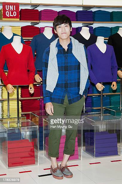 Singer John Park attends during the Uniqlo 2013 F/W Silk/Cashmere Project press event at Gangnam Uniqlo Store on August 29 2013 in Seoul South Korea