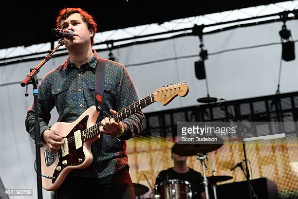 Singer John Paul Pitts of Surfer Blood performs onstage at the Rose Bowl on February 21 2015 in Pasadena California