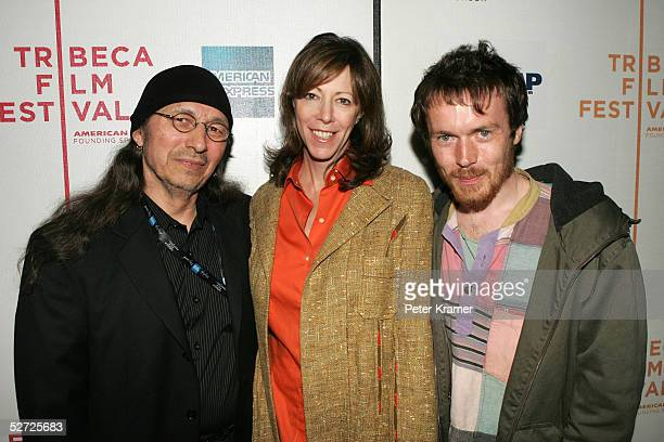 Singer John Trudell, Tribeca Film Festival Co-Founder Jane Rosenthal and singer Damien Rice attend the Tribeca Film Festival ASCAP Music Lounge. The...