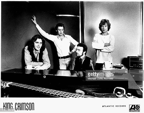 Singer John Wetton David Cross Robert Fripp and Bill Bruford of the English rock band King Crimson pose for a portrait in 1974 This lineup was...