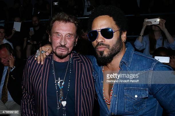 Singer Johnny Hallyday and Singer Lenny Kravitz attend the Saint Laurent Menswear Spring/Summer 2016 show as part of Paris Fashion Week on June 28...