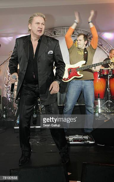 Singer Johnny Logan performs at the Kitz Race Party after the Hahnenkamm slalom races January 27, 2007 in Kitzbuehel, Austria.