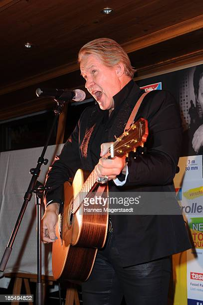 Singer Johnny Logan performs during the presentation of Manfred Baumann New Calendar 2014 at the King's Hotel Center on October 21, 2013 in Munich,...