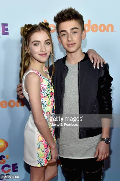 Singer Johnny Orlando and Lauren Orlando at Nickelodeon's 2017 Kids' Choice Awards at USC Galen Center on March 11 2017 in Los Angeles California