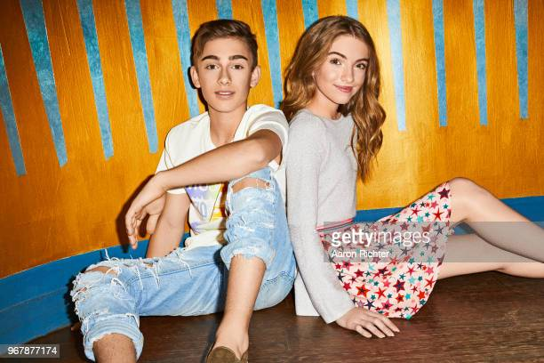 Singer Johnny Orlando and YouTube star Lauren Orlando are photographed for Tiger Beat Magazine on November 25 2017 at Sid's Gold Request Room in New...