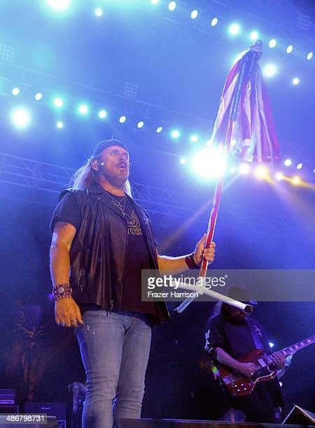 Singer Johnny Van Zant of Lynyrd Skynyrd performs on day 1 of 2014 Stagecoach California's Country Music Festival at the Empire Polo Club on April 25...