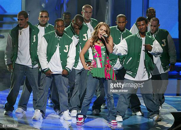 Singer JoJo performs 'Leave ' on stage at The 2004 Teen Choice Awards held at Universal Amphitheater on August 8 2004 in Universal City California