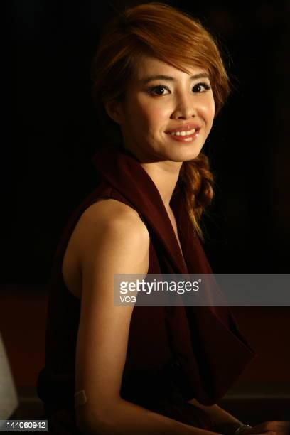 Singer Jolin Tsai attends a press conference to promote her concert at Marriott Hotel on May 8 2012 in Shanghai China