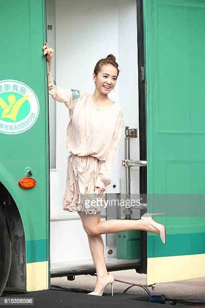 Singer Jolin Tsai attends endorsement event of a food brand on October 17 2016 in Taipei Taiwan of China