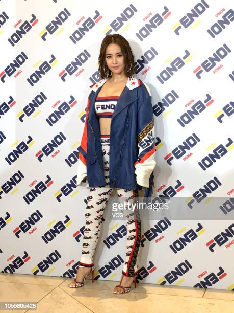 Singer Jolin Tsai attends Fendi Mania Launch Party on October 16 2018 in Hong Kong China