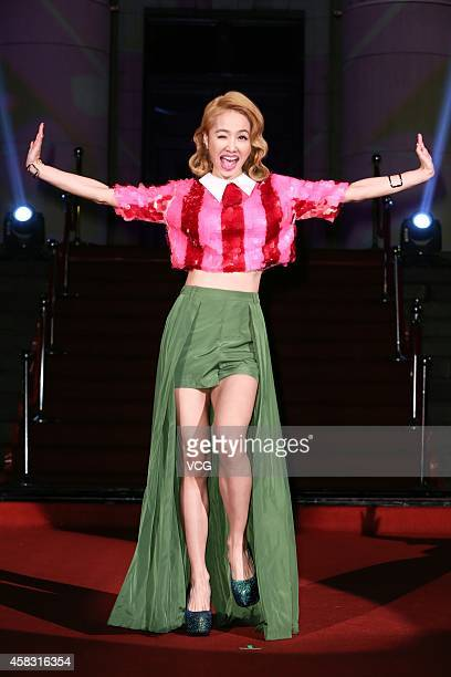 Singer Jolin Tsai attends new album release on November 2 2014 in Taipei Taiwan