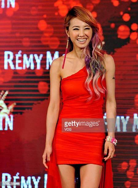 Singer Jolin Tsai attends Remy Martin promotional event at Hyatt on the Bund Hotel on October 30 2012 in Shanghai China