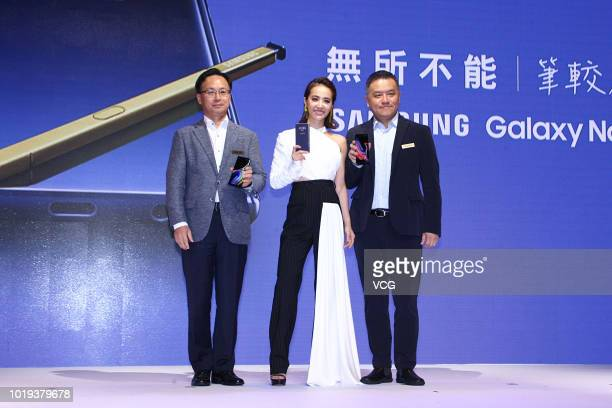 Singer Jolin Tsai attends the press conference of Samsung Galaxy Note 9 on August 15 2018 in Taipei Taiwan of China