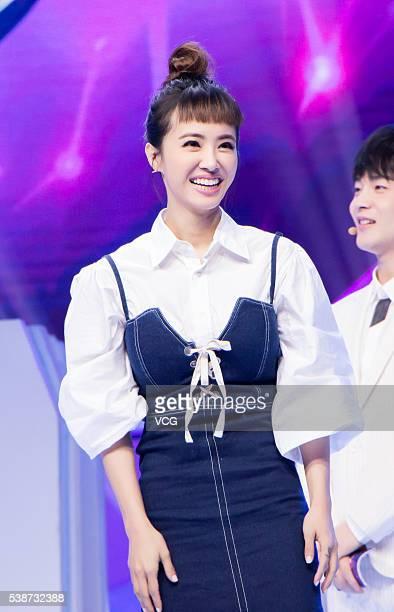 Singer Jolin Tsai attends the shooting of Jiangsu TV program Mystery Music Show on June 7 2016 in Beijing China