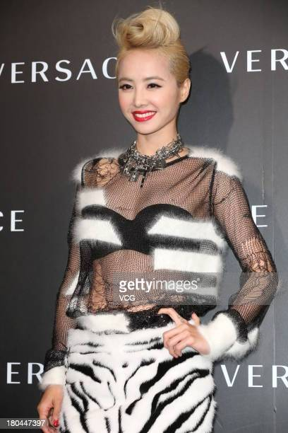 Singer Jolin Tsai attends Versace store opening ceremony at Taipei 101 on September 12 2013 in Taipei Taiwan