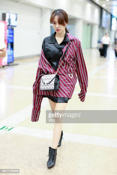Singer Jolin Tsai is seen at Beijing Capital International Airport on August 30 2017 in Beijing China