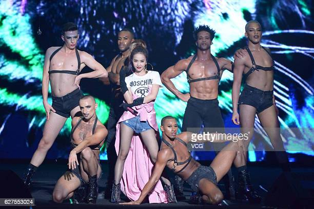 Singer Jolin Tsai performs onstage during the 10th Migu Music Awards on December 3 2016 in Shanghai China
