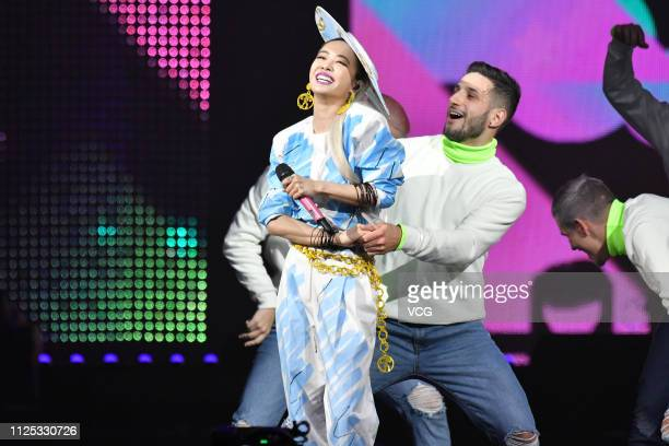 Singer Jolin Tsai performs onstage during the 14th Kkbox Music Awards at Taipei Arena on January 26 2019 in Taipei Taiwan of China