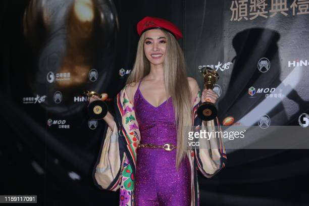Singer Jolin Tsai poses at backstage during the 30th Golden Melody Awards Ceremony on June 29 2019 in Taipei Taiwan of China