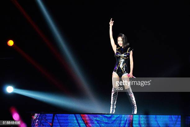 Singer Jolin Tsai sings on stage during her Play global tour concert on April 2 2016 in Hefei Anhui Province of China