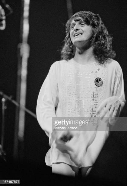 Singer Jon Anderson performing with English progressive rock group Yes at the Rainbow Theatre London 17th December 1972