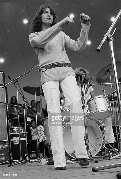 Singer Jon Anderson performing with English progressive rock group Yes at a Crystal Palace Garden Party event Crystal Palace Bowl London 2nd...