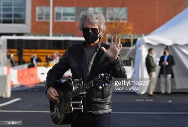 Singer Jon Bon Jovi attends a Biden-Harris Drive-In rally at Dallas High School, in Dallas, Pennsylvania, on October 24, 2020.