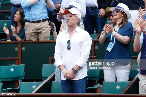 Singer Jon Bon Jovi attends the Men Final of the 2018 French Open Day Fithteen at Roland Garros on June 10 2018 in Paris France