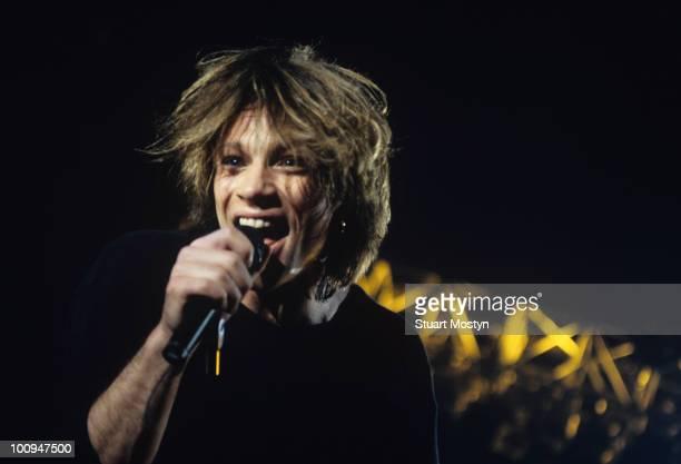 Singer Jon Bon Jovi of Bon Jovi perform on stage circa 1996