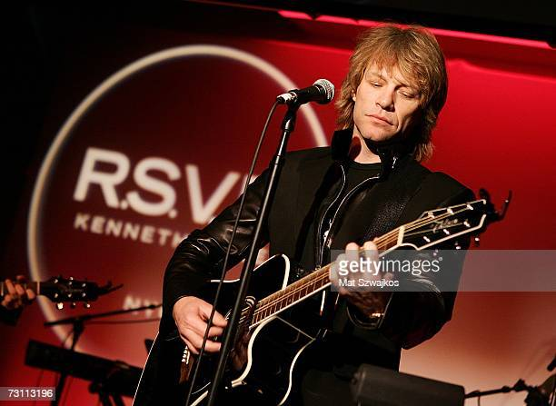 "Singer Jon Bon Jovi performs at Kenneth Cole's ""R.S.V.P. To HELP"" benefit hosted by Kenneth Cole and Jon Bon Jovi at the Tribeca Rooftop on January..."