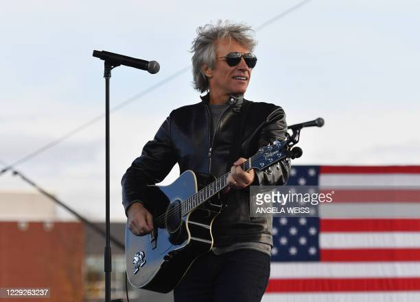Singer Jon Bon Jovi performs during a Biden-Harris Drive-In event at Dallas High School, in Dallas, Pennsylvania, on October 24, 2020.