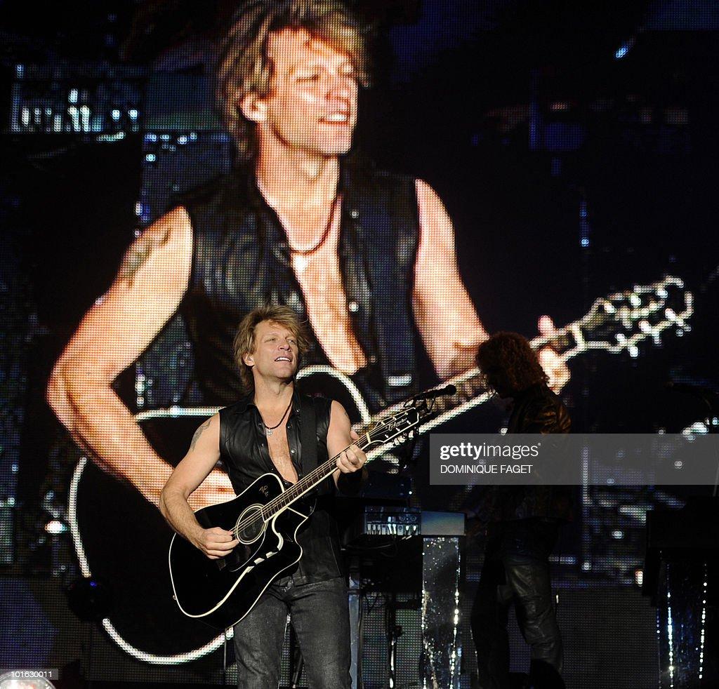 US singer Jon Bon Jovi performs during the 'Rock in Rio' music festival in Arganda del Rey near Madrid on June 4, 2010.