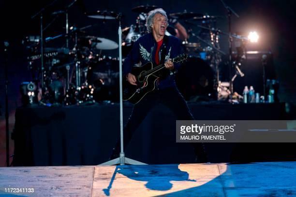 US singer Jon Bon Jovi performs with the rock band Bon Jovi during Rock in Rio festival at the Olympic Park Rio de Janeiro Brazil on September 29...