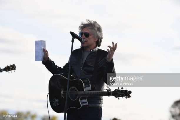 Singer Jon Bon Jovi speaks during a Biden-Harris Drive-In rally at Dallas High School, in Dallas, Pennsylvania, on October 24, 2020.